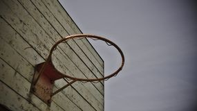 Old red basketball basket on the background in sky Royalty Free Stock Image
