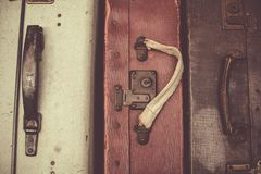 Old train travel suitcases in Belgium Royalty Free Stock Image