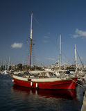 Old red boat. On key in athens greece Stock Images