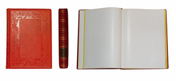 Old red book. Red book spine open and closed Stock Photos