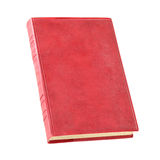 Old red book isolated. Over white with clipping path Stock Image