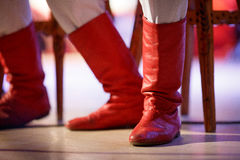 Old red boots Royalty Free Stock Photo