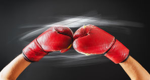 Old Red Boxing Gloves Glow Flashes Dark Background Stock Images