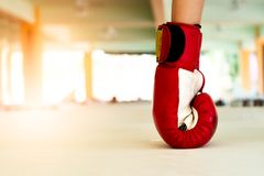 Old red boxing gloves knock out the ground stock photography