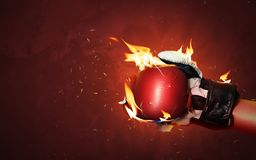 Free Old Red Boxing Gloves On Hot Sparkles Background With Extreme Fire Flame And Fighting Fiercely Hand For Winner Or Success Concept Stock Image - 159691911