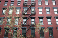 Old red brick apartment building Stock Image