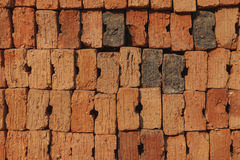Old red brick arranged in a row Royalty Free Stock Image