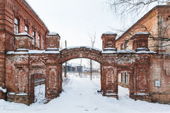 Old red brick building in the winter in central Russia Royalty Free Stock Image
