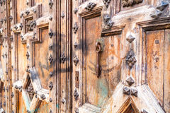 Old red brick church in toulouse wooden door Stock Photography