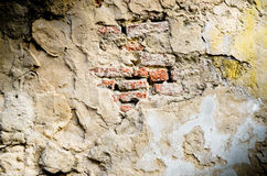 Old red brick  in cracked concrete wall Royalty Free Stock Image
