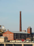 Old red brick factory building Stock Images