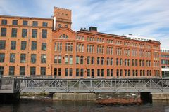 Old red brick factory. Industrial landscape. Norrkoping. Sweden Stock Images
