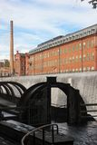 Old red brick factory. Industrial landscape. Norrkoping. Sweden Royalty Free Stock Images