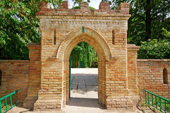 Brick gate to an old castle Stock Images