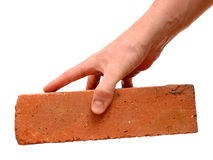 Old red brick in hand Stock Photography