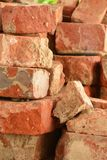 Old red brick isolated cracked weathered royalty free stock photography