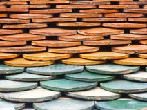 Old red brick roof tiles Royalty Free Stock Image