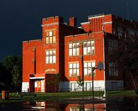 Old Red Brick School In Edmonton Alberta Canada Stock Photos