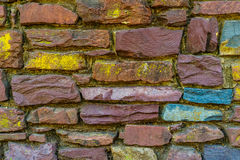 Old red brick and stone wall cement texture Royalty Free Stock Photo