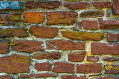 Old red brick and stone wall cement texture Stock Photography