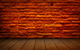 Old red brick Structure of the walls and wood flooring. Stock Photography