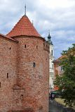 Old red brick tower stock photo