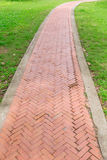 Old red brick walkway perspective view Royalty Free Stock Photo