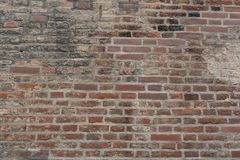 Old Red brick wall as background, wallpaper. Red bricks pattern, texture. Horizontal wide brick wall. Dirty wall stock images
