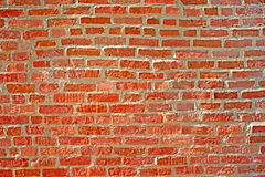 Old red brick wall. Background. View of old red brick wall. Background Royalty Free Stock Photo