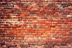 Old red brick wall background. Royalty Free Stock Photo