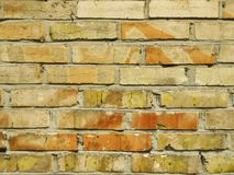 Old red brick wall background texture close up.  Stock Photo