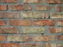 Old red brick wall background texture close up.  Stock Photography