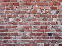 Old red brick wall, badly made. Stock Photo