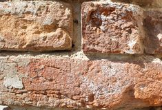 Old red brick wall close-up. Old red brick wall. close-up Stock Images