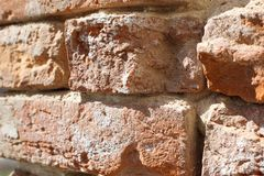 Old red brick wall close-up. Old red brick wall. close-up Royalty Free Stock Photo