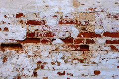 An old red brick wall with fallen off white plaster. Stock Photos