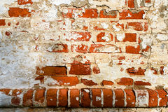 An old red brick wall with fallen off white plaster. Stock Photography