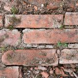 Old red brick wall fragment Stock Photos