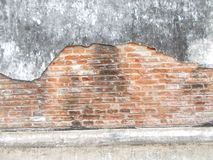 Old Red Brick Wall and old Cracked Concrete Vintage Background Texture, dirty fungus Royalty Free Stock Photography