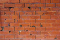 Old Red Brick wall with some crack Stock Photography