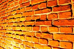 Old red brick wall with street light Stock Photography