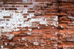 Old red brick wall texture background. Old house facade. Old red brick wall texture background. Brick wall with cracks and scratches. Horizontal wide brickwall royalty free stock photography