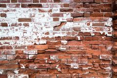 old red brick wall texture background. Horizontal wide brickwall background. Distressed wall with broken bricks texture. royalty free stock photography