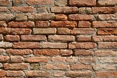 Old red brick wall texture background, sunlight royalty free stock photography