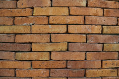 Old red brick wall texture background. Weathered texture of stained old dark brown and red brick wall background, grungy rusty blocks of stone-work technology royalty free stock images
