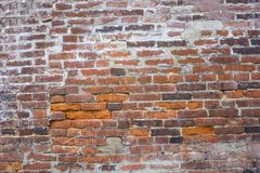 Old red brick wall texture, close up photo. Old red brick wall texture, a close up photo Royalty Free Stock Photography
