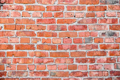 Old red brick wall texture. With cracks Stock Photo