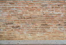 Old red brick wall texture with wooden slat Royalty Free Stock Images