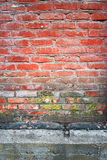 Old red brick wall vertical texture with part of concrete basement beneath Stock Images