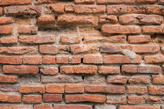 Old red brick wall in the wall of old building. Stock Photos
